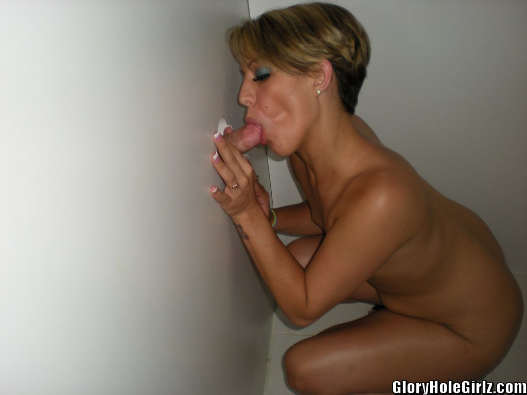 Blonde glory hole cum